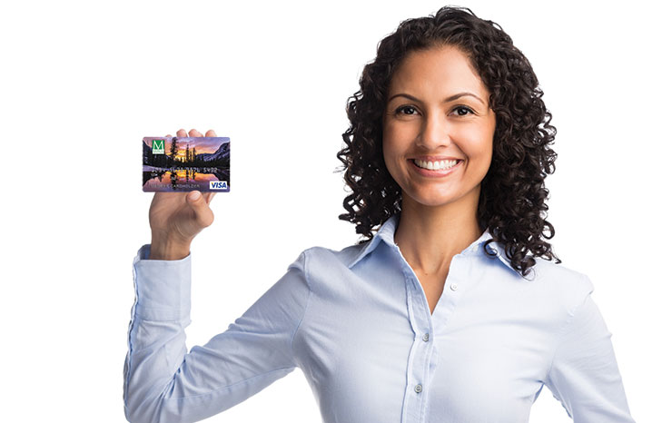 Woman holding ViSA card